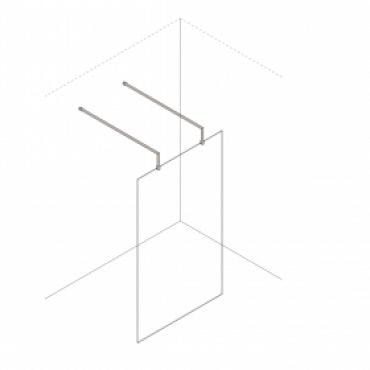 Foto van Inloopdouche vaste wand vrijstaand + 2x RVS verhoogde stabilisatiestang