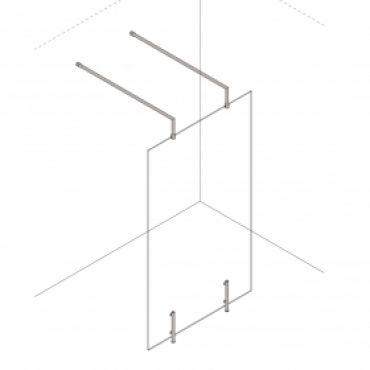 Foto van Inloopdouche vaste wand vrijstaand +  2x verhoogde RVS vrijstaand stabilisatiestang