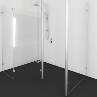 Foto van Inloopdouche met 135 graden glasdeel met vaste wand voorzien van RVS staander